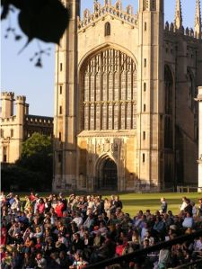 Crowd by the river at King's College Chapel, Cambridge