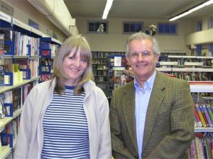 Ruth in the library with Adrian Magson