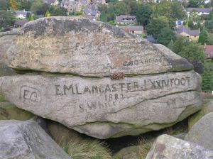 Names carved in rock on Ilkley moor