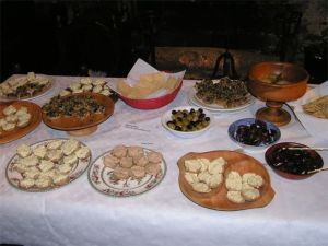 Roman-style food on table