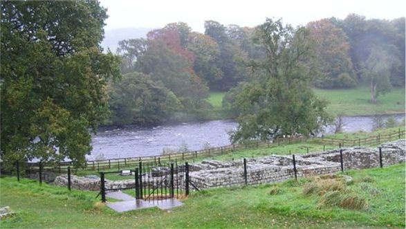 Chesters bath house showing river alongside