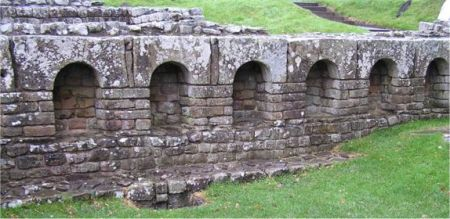 Niches in stonework at Chesters Bath house