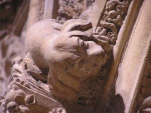 Stone carving of puppy