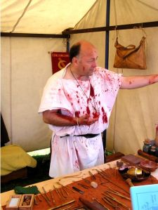 Blood-spattered Roman doctor
