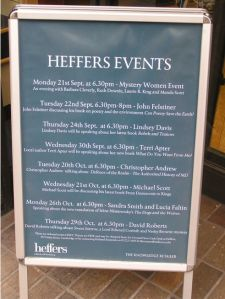 Photo of Heffers events board outside the shop
