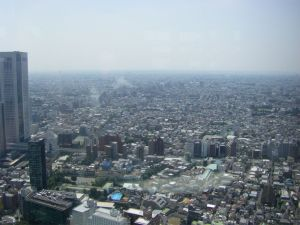 View to horizon across Tokyo rooftops