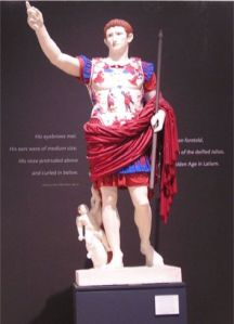 Painted statue of Augustus with red cloak