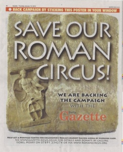 Colchester Gazette poster Save Our Roman Circus