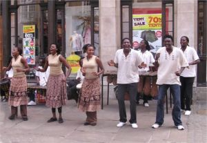 Zimbabwean music and dance group in street performance