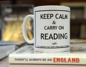 "Mug with slogan, ""Keep Calm and Carry on Reading"""