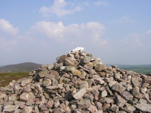 View of horse's skull on hilltop mound of stones
