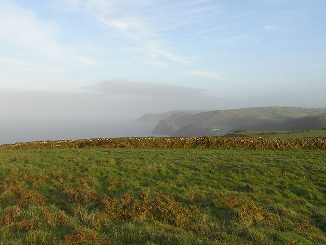 View of headlands along Exmoor coastline