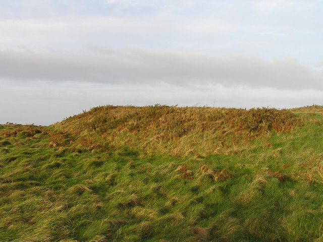 View of grassy slopes once ramparts