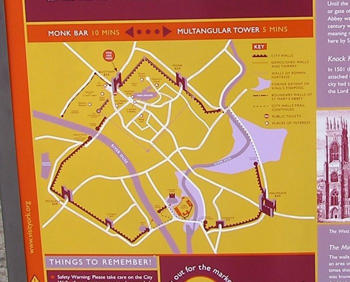 Map showing the walk around the Walls