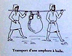Two men carrying an amphora slung under a pole