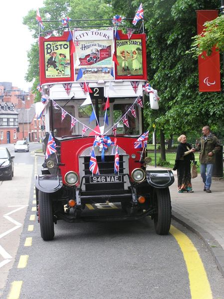 Vintage bus decorated with union flags