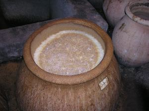 Grape juice fermenting in large open jar