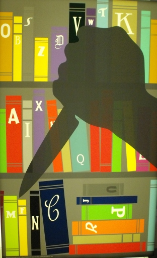 Illuminated graphic with shadow of hand clutching dagger on library shelves