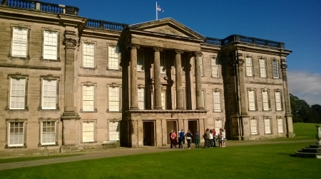 Front view of Calke Abbey stately home