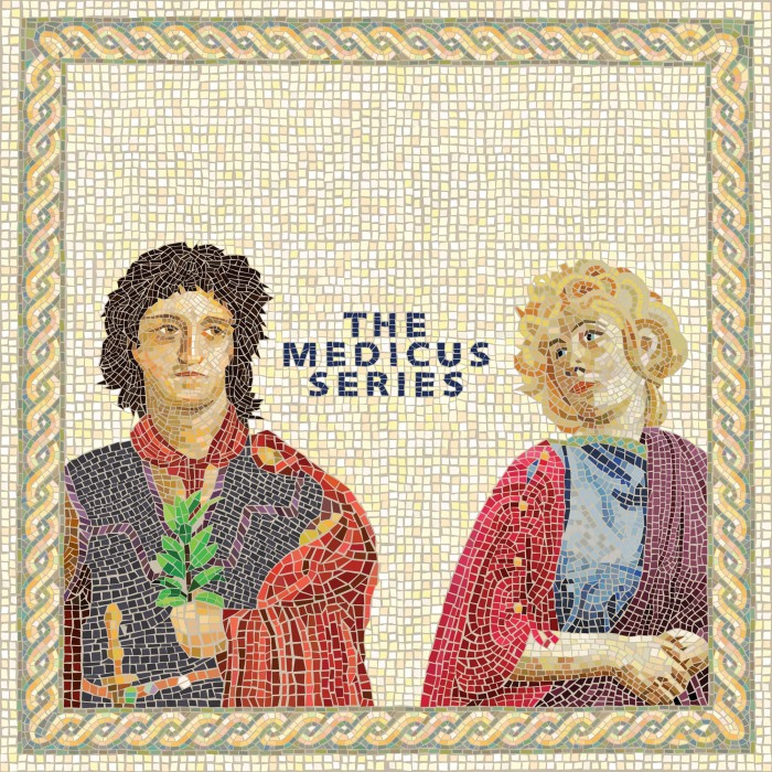 "Mosaic of man and woman with ""The Medicus Series"" written between them."