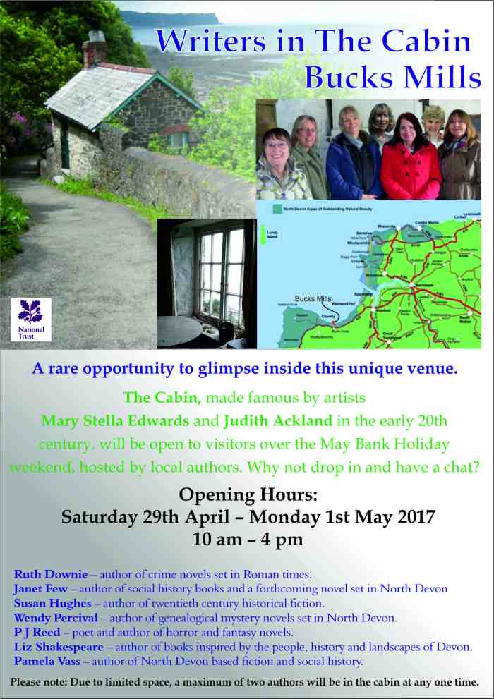 Info leaflet for Writers in the Cabin event.