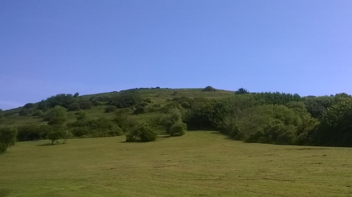 View of hillfort ramparts from below
