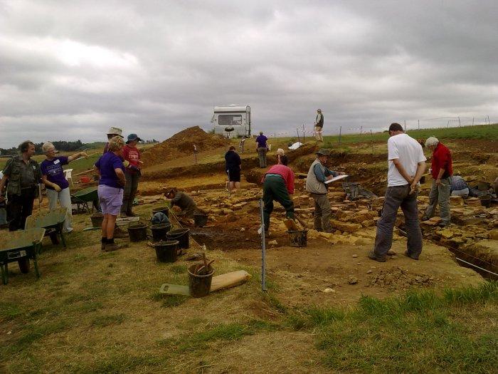 Archaeological dig on Roman bath house foundations