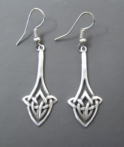 Silver earrings with woven knot design