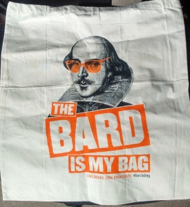 "Bag with pic of Shakespeare and ""The Bard is my Bag"" printed on it."