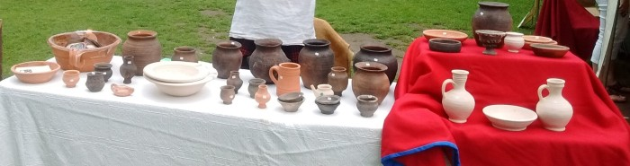 Display of reproduction Roman pots