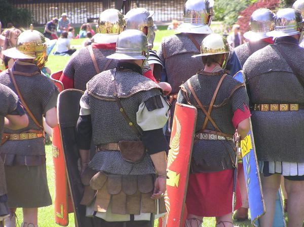 Roman soldiers walking away
