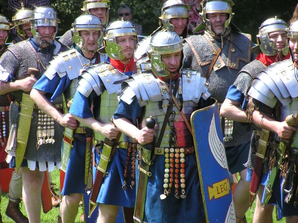 More Roman soldiers march through the park