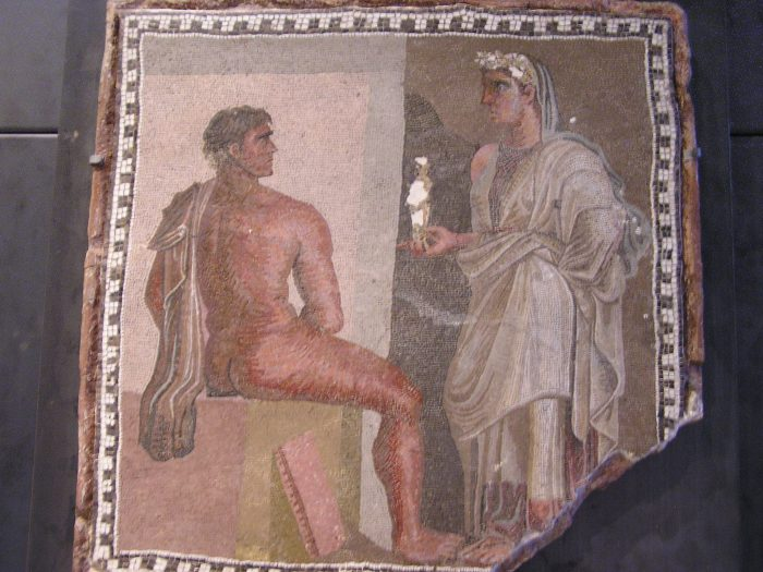 Mosaic of woman (?) confronting naked man