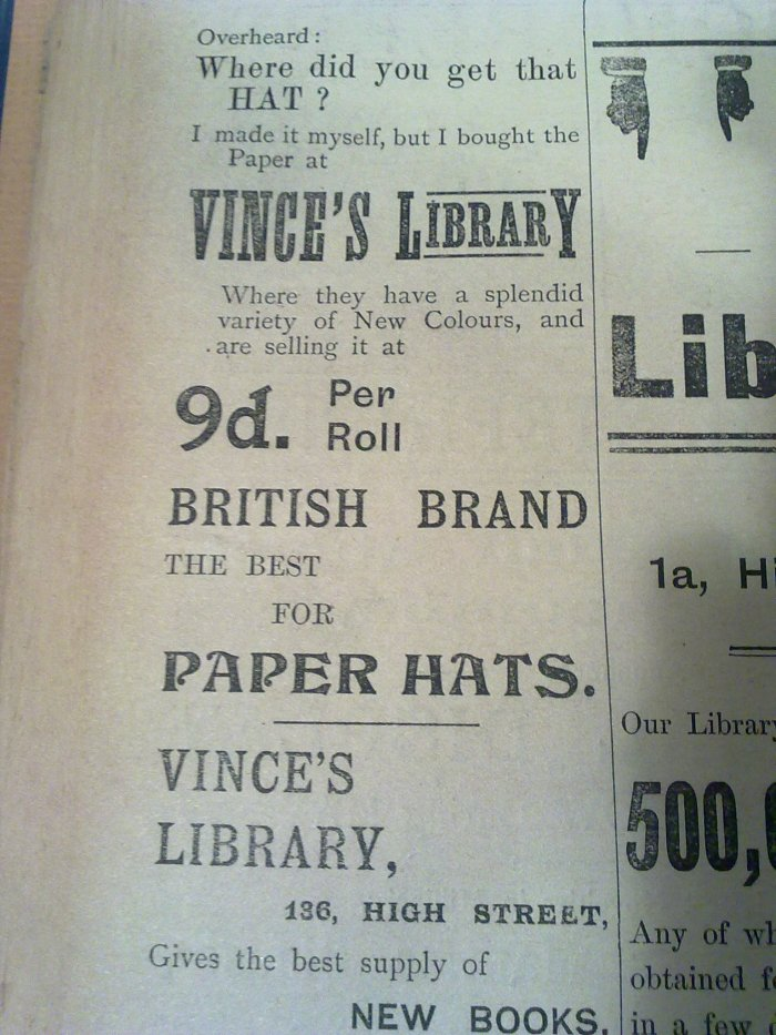 Advert for paper to make hats with