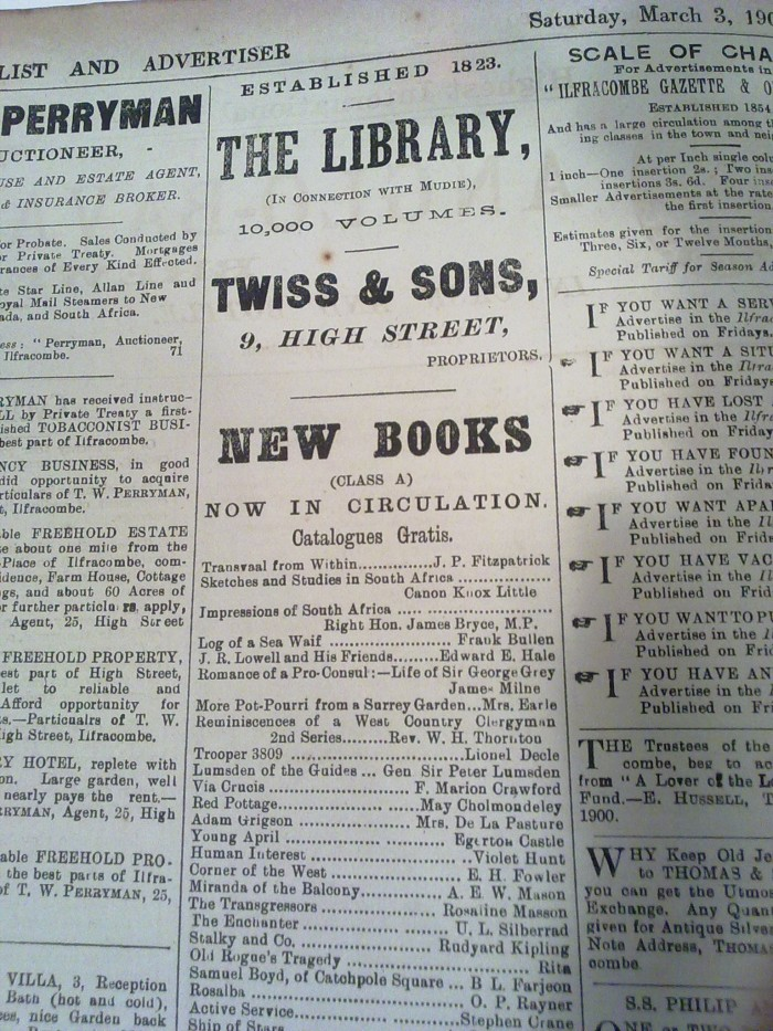Advertisement for circulating library