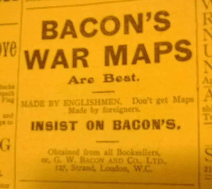 Advert for maps made by Englishmen