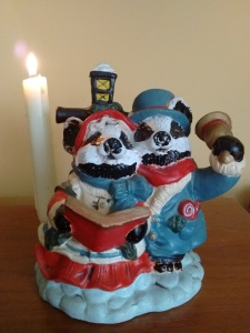 Plaster model of bears singing carols