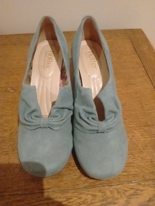 Pale blue suede women's shoes