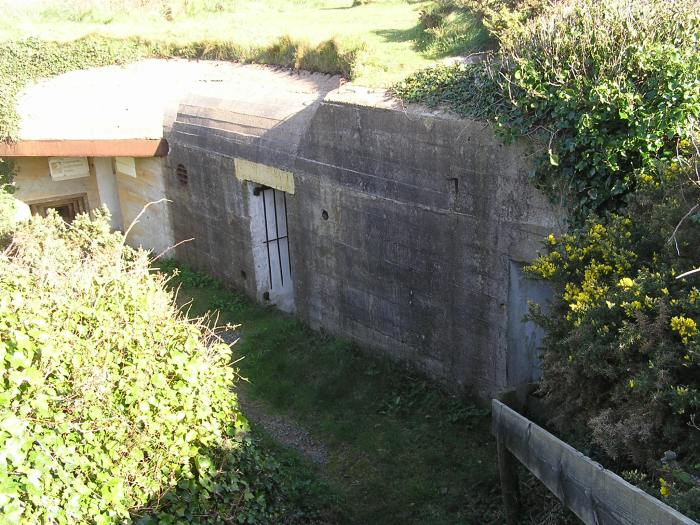 Concrete bunker set into hillside