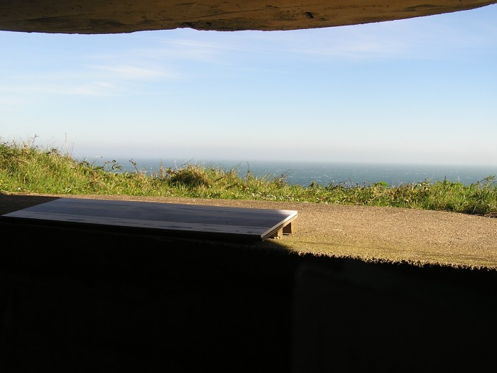 View over hill and sea from bunker