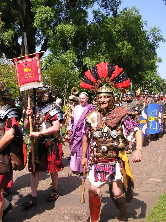 Centurion soldiers and the Emperor marching