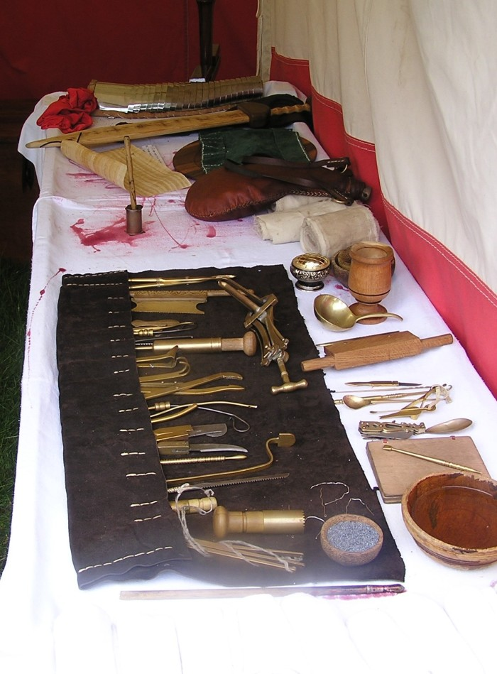 Another display of medical instruments with bloodstains