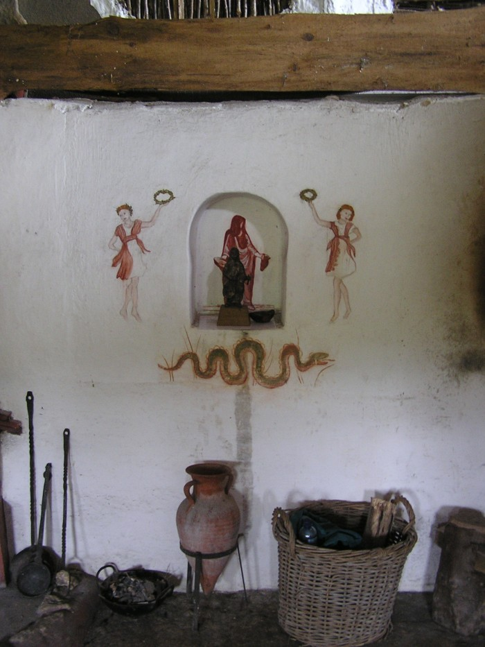 Painted walls inside the Roman villa