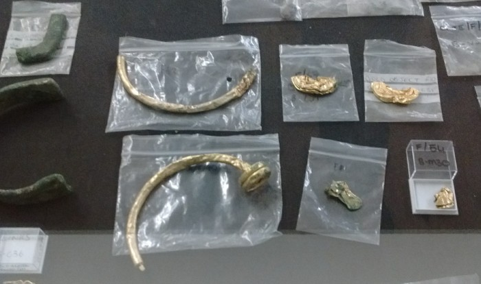 gold items in plastic finds bags