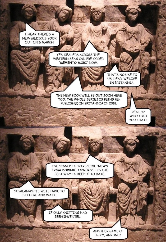 Graphic of sculpture women discussing launch date of Memento Mori