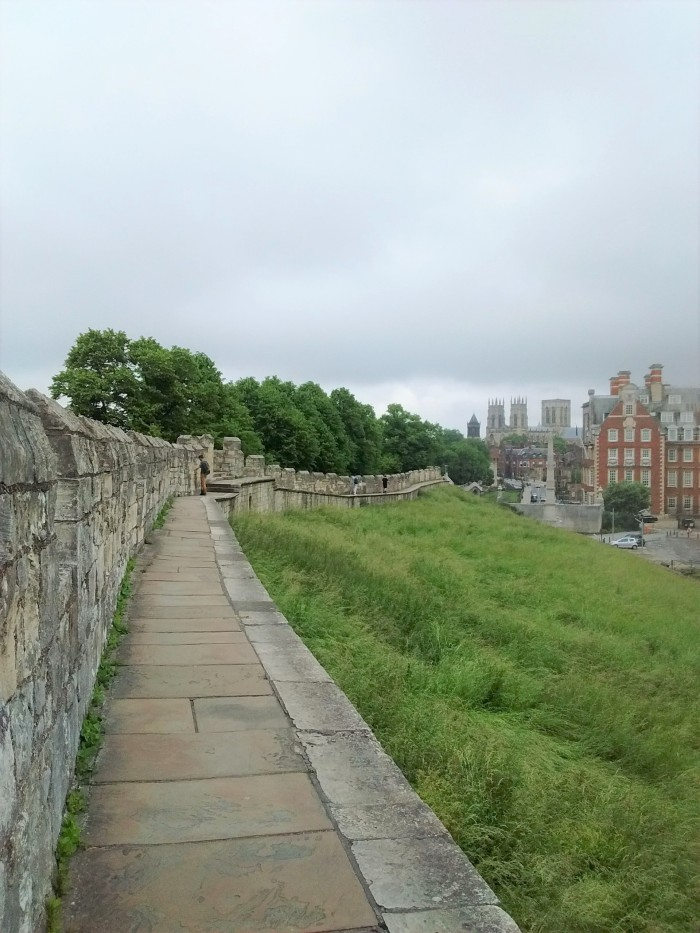 City wall-walk with York Minster on the horizon