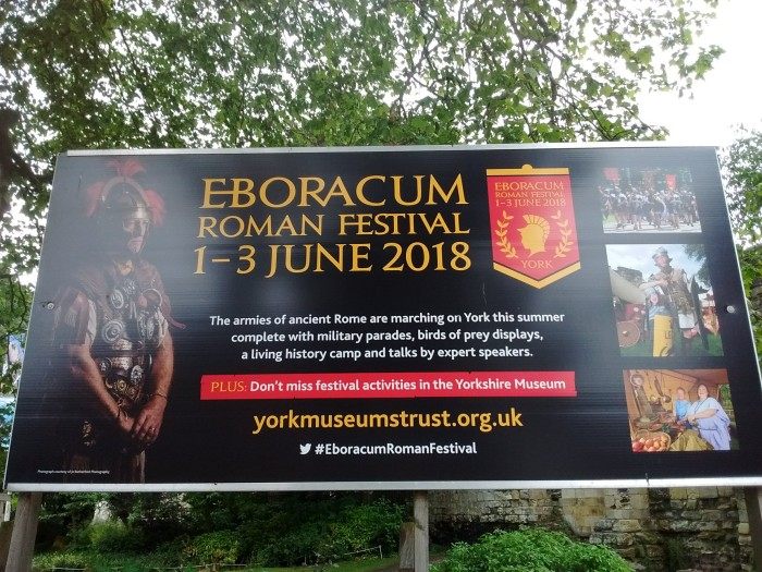 Display board announcing Eboracum Roman Festival