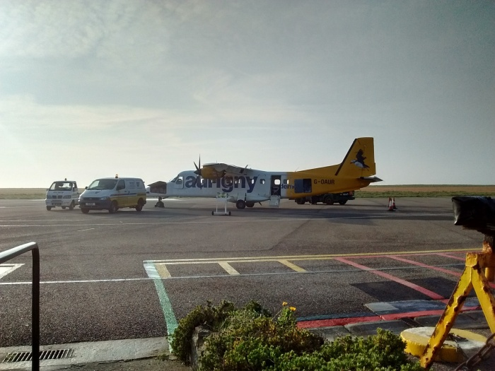Small Dornier plane with AURIGNY logo