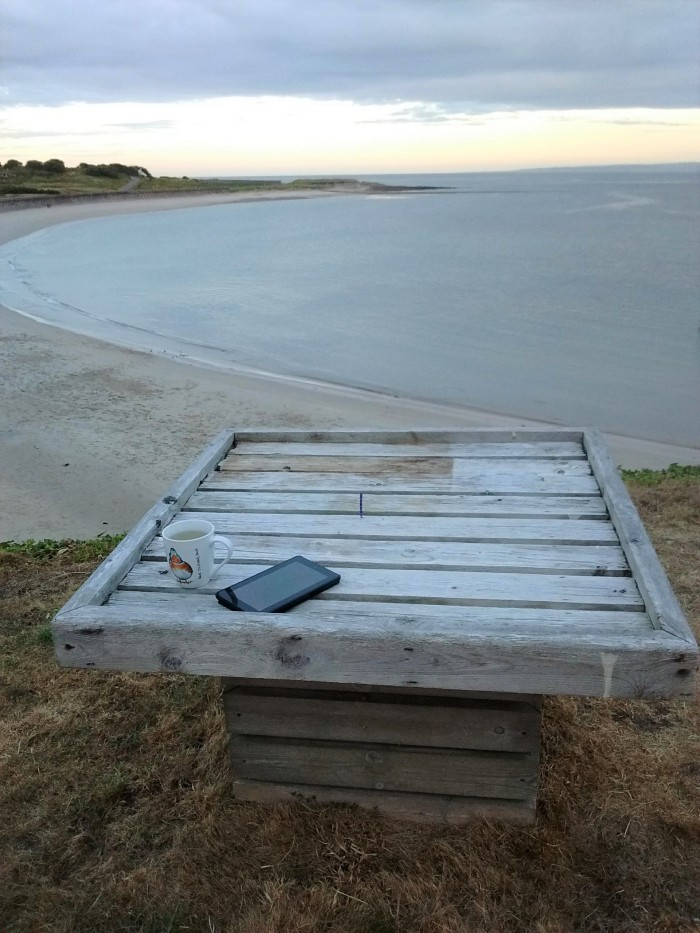 Table overlooking beach