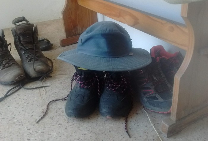 Boots and old sun-hat